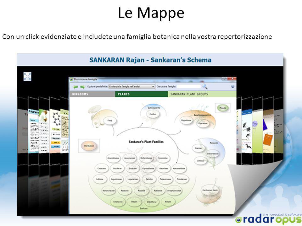 Le Mappe Con un click evidenziate e includete una famiglia botanica nella vostra repertorizzazione
