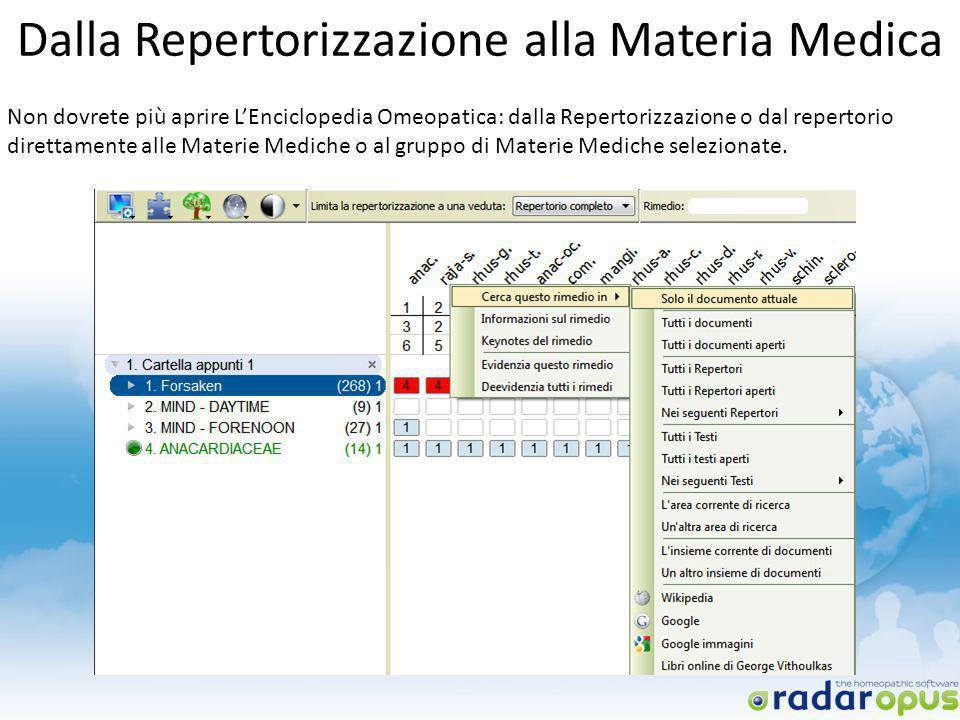 Dalla Repertorizzazione alla Materia Medica Non dovrete più aprire LEnciclopedia Omeopatica: dalla Repertorizzazione o dal repertorio direttamente all