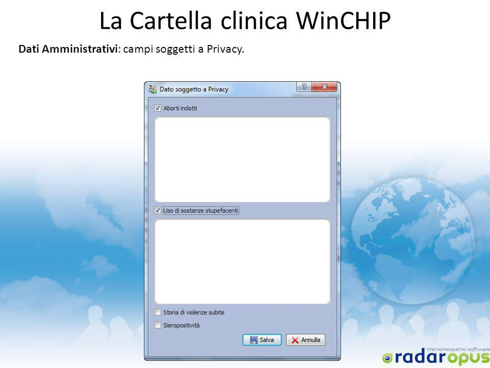 La Cartella clinica WinCHIP Dati Amministrativi: campi soggetti a Privacy.
