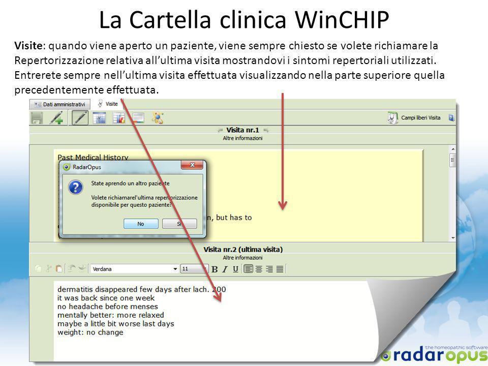 La Cartella clinica WinCHIP Visite: quando viene aperto un paziente, viene sempre chiesto se volete richiamare la Repertorizzazione relativa allultima