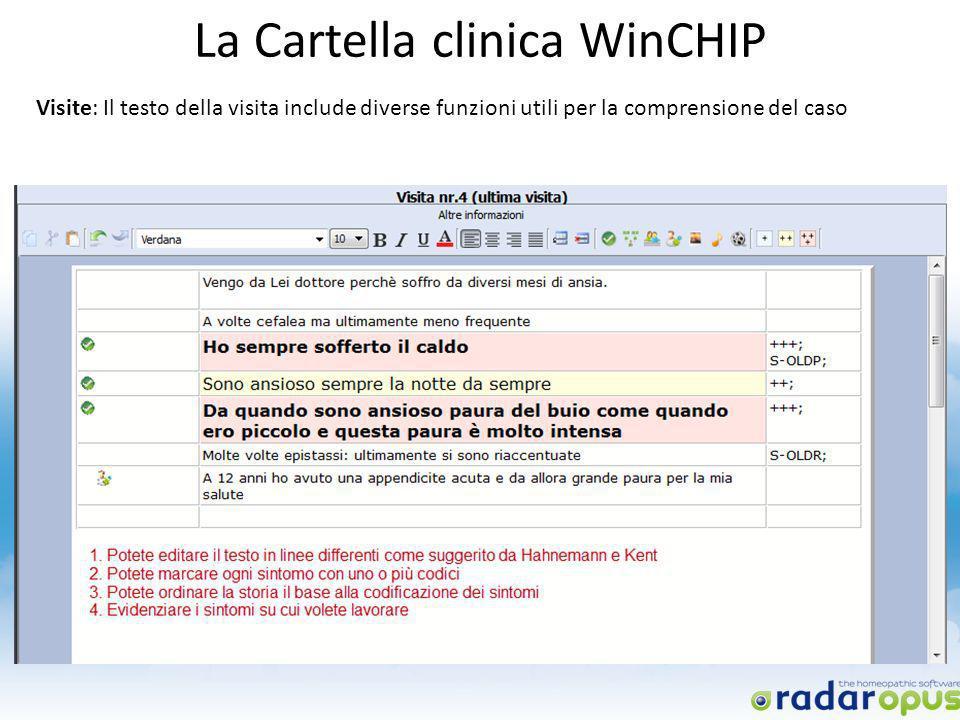 La Cartella clinica WinCHIP Visite: Il testo della visita include diverse funzioni utili per la comprensione del caso
