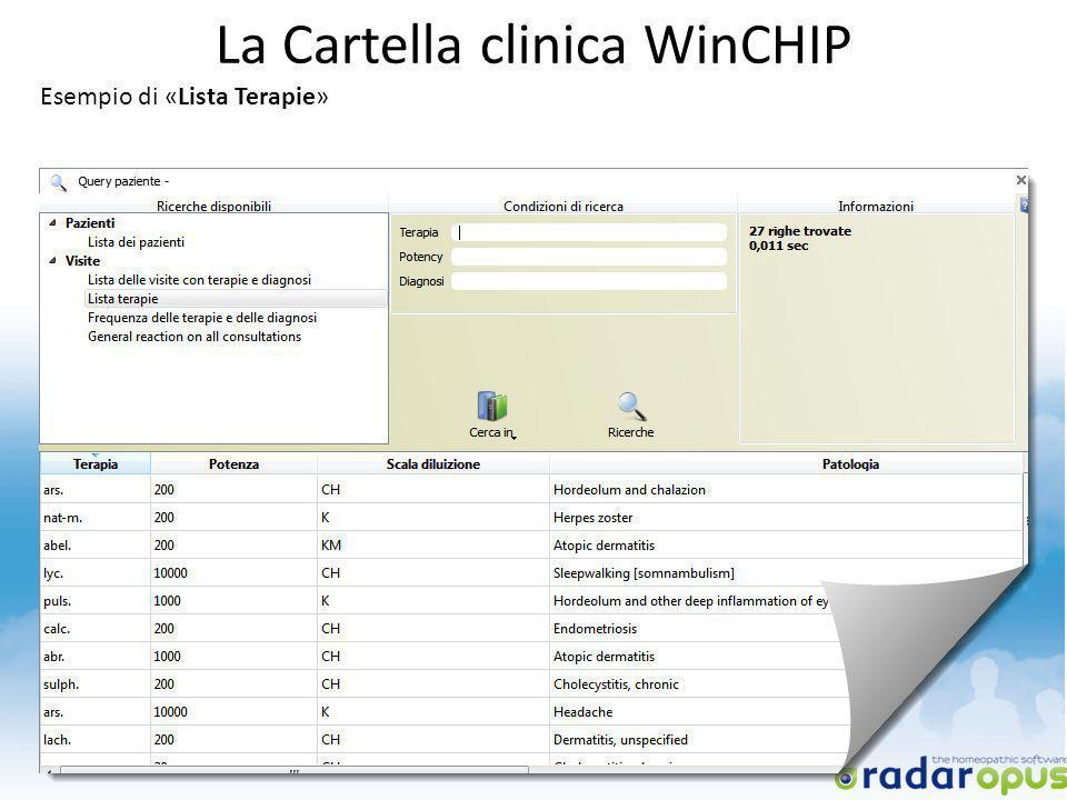 La Cartella clinica WinCHIP Esempio di «Lista Terapie»