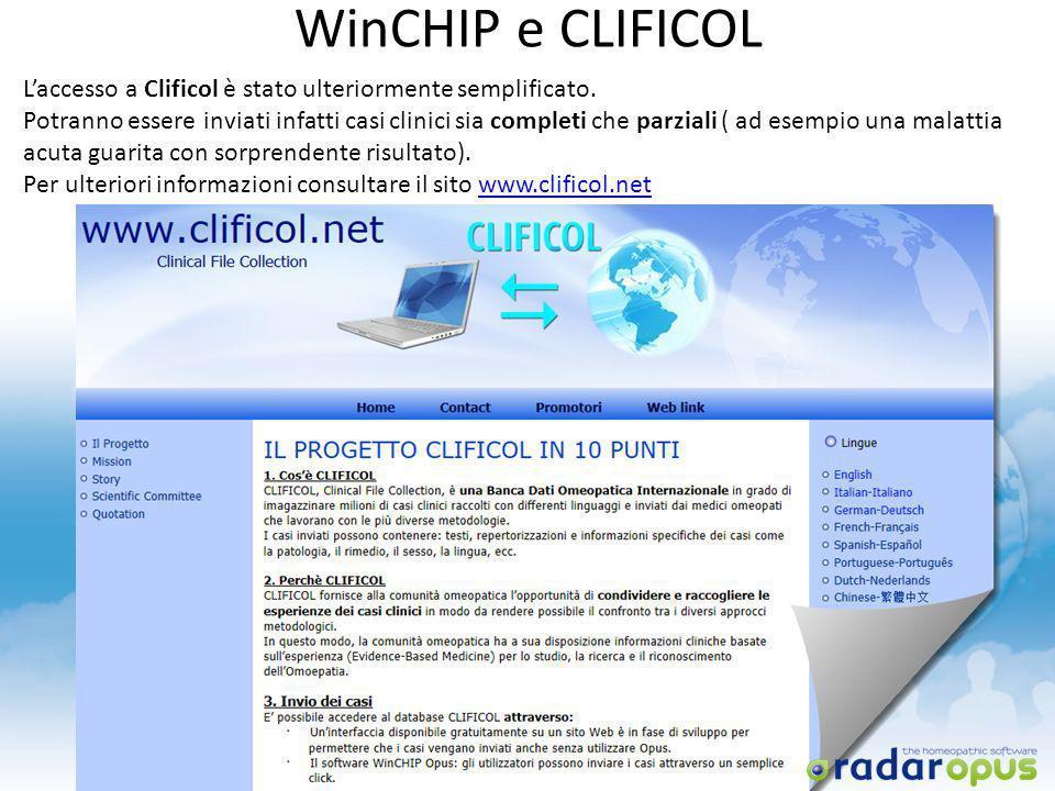 WinCHIP e CLIFICOL Laccesso a Clificol è stato ulteriormente semplificato. Potranno essere inviati infatti casi clinici sia completi che parziali ( ad