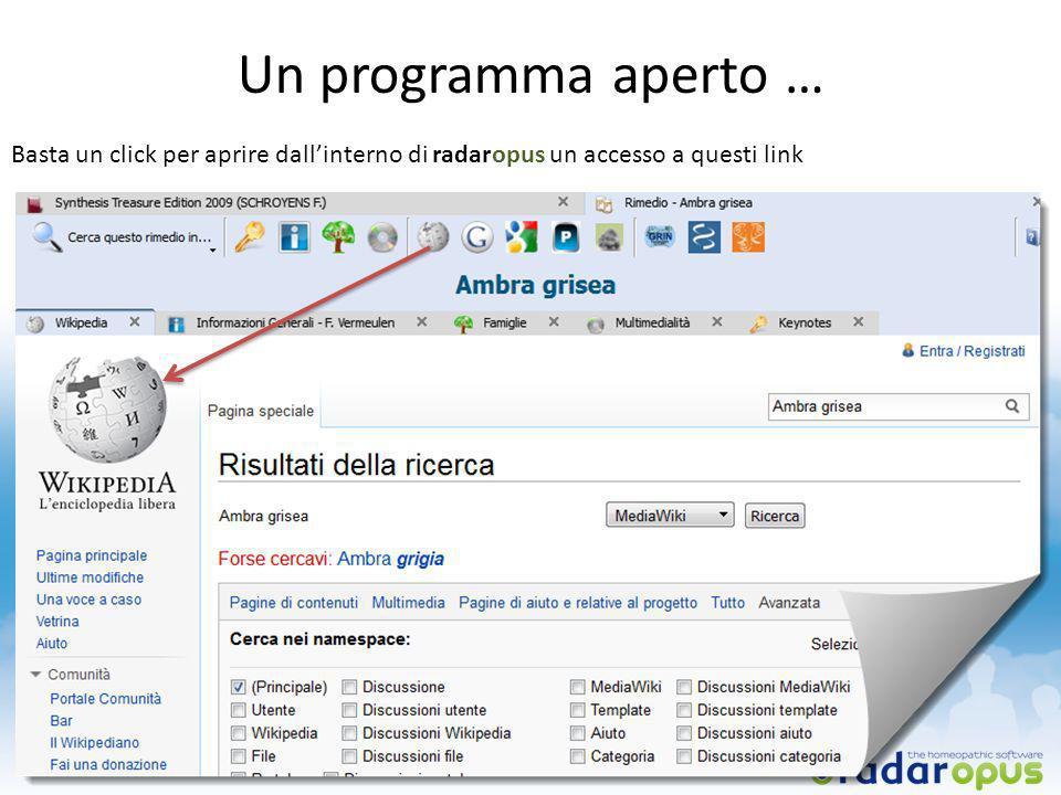 Un programma aperto … Basta un click per aprire dallinterno di radaropus un accesso a questi link