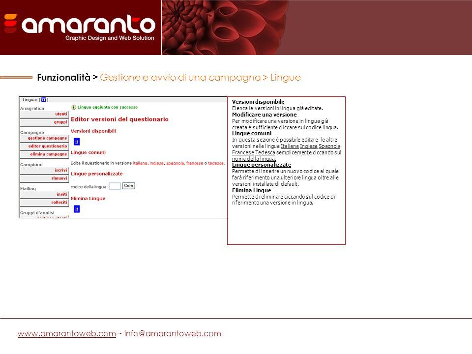 www.amarantoweb.comwww.amarantoweb.com ~ info@amarantoweb.com Versioni disponibili: Elenca le versioni in lingua già editate.