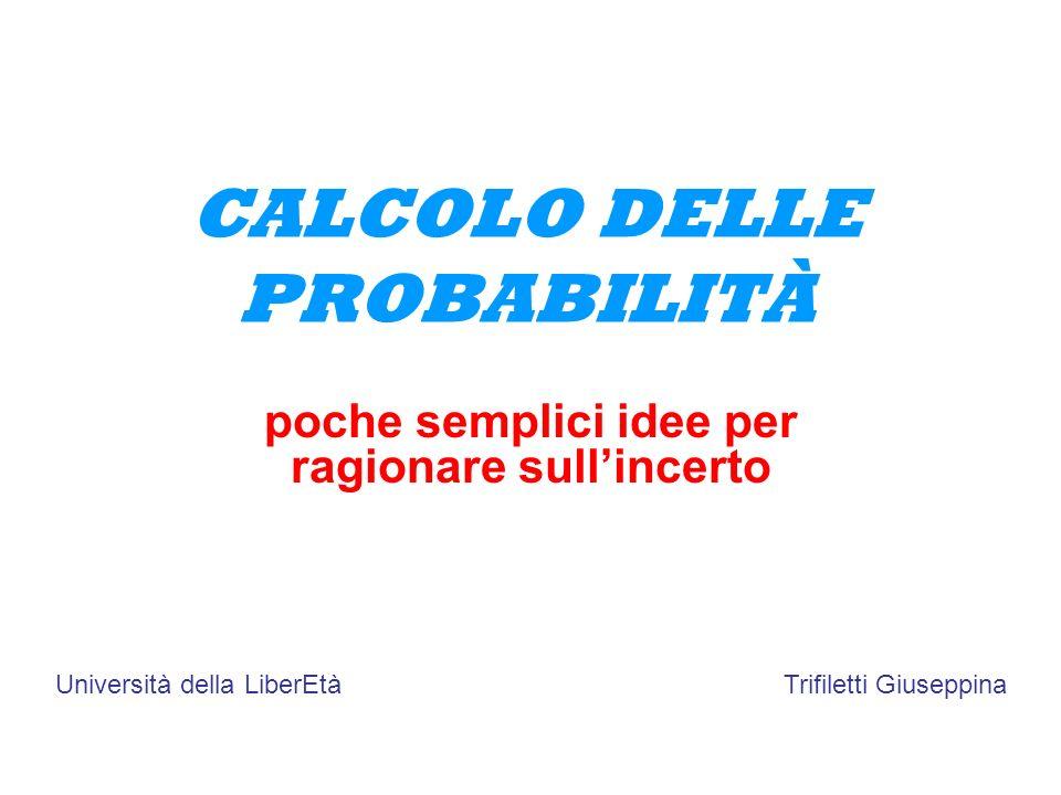 CALCOLO DELLE PROBABILITÀ poche semplici idee per ragionare sullincerto Università della LiberEtàTrifiletti Giuseppina