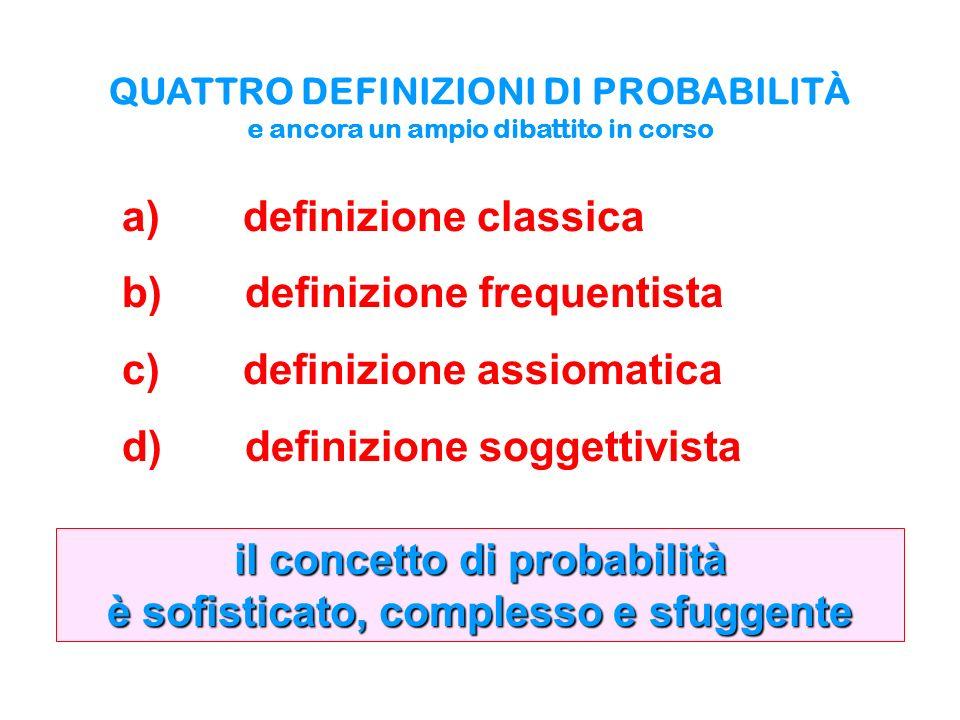 QUATTRO DEFINIZIONI DI PROBABILITÀ e ancora un ampio dibattito in corso a) definizione classica b) definizione frequentista c) definizione assiomatica