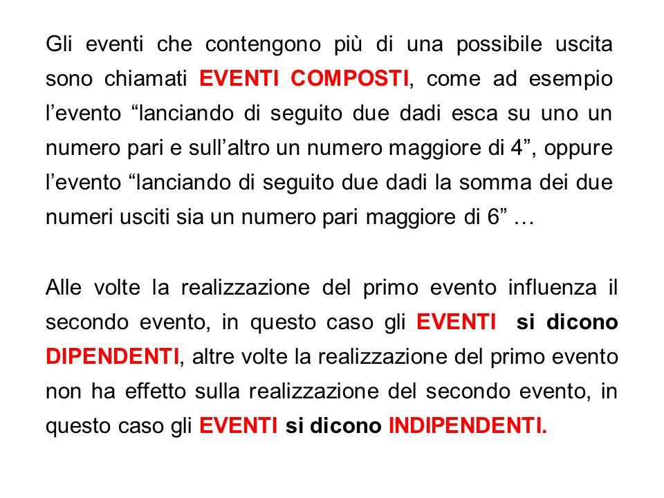Gli eventi che contengono più di una possibile uscita sono chiamati EVENTI COMPOSTI, come ad esempio levento lanciando di seguito due dadi esca su uno un numero pari e sullaltro un numero maggiore di 4, oppure levento lanciando di seguito due dadi la somma dei due numeri usciti sia un numero pari maggiore di 6 … Alle volte la realizzazione del primo evento influenza il secondo evento, in questo caso gli EVENTI si dicono DIPENDENTI, altre volte la realizzazione del primo evento non ha effetto sulla realizzazione del secondo evento, in questo caso gli EVENTI si dicono INDIPENDENTI.
