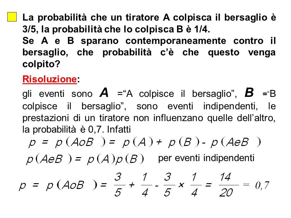 La probabilità che un tiratore A colpisca il bersaglio è 3/5, la probabilità che lo colpisca B è 1/4. Se A e B sparano contemporaneamente contro il be