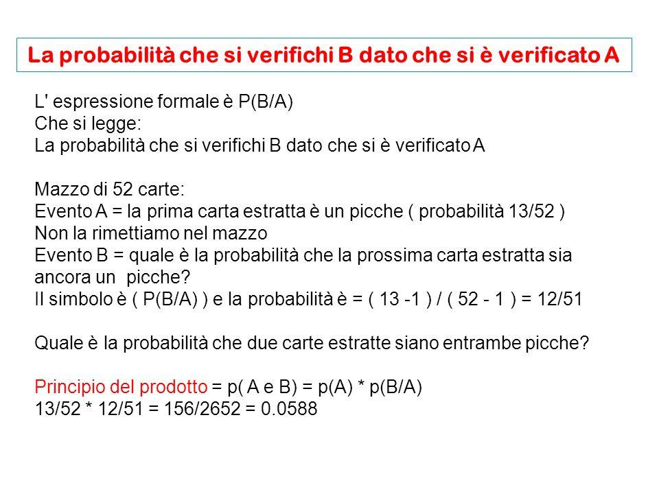 L espressione formale è P(B/A) Che si legge: La probabilità che si verifichi B dato che si è verificato A Mazzo di 52 carte: Evento A = la prima carta estratta è un picche ( probabilità 13/52 ) Non la rimettiamo nel mazzo Evento B = quale è la probabilità che la prossima carta estratta sia ancora un picche.
