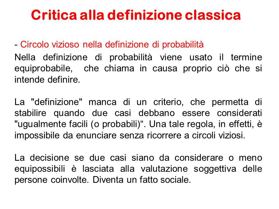 - Circolo vizioso nella definizione di probabilità Nella definizione di probabilità viene usato il termine equiprobabile, che chiama in causa proprio ciò che si intende definire.