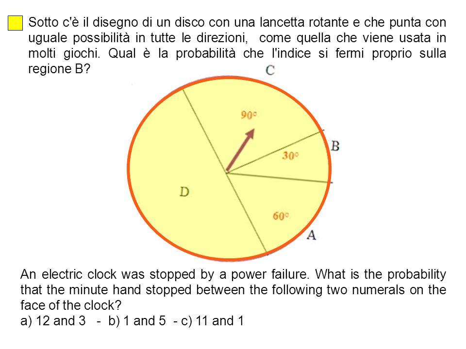 Sotto c è il disegno di un disco con una lancetta rotante e che punta con uguale possibilità in tutte le direzioni, come quella che viene usata in molti giochi.