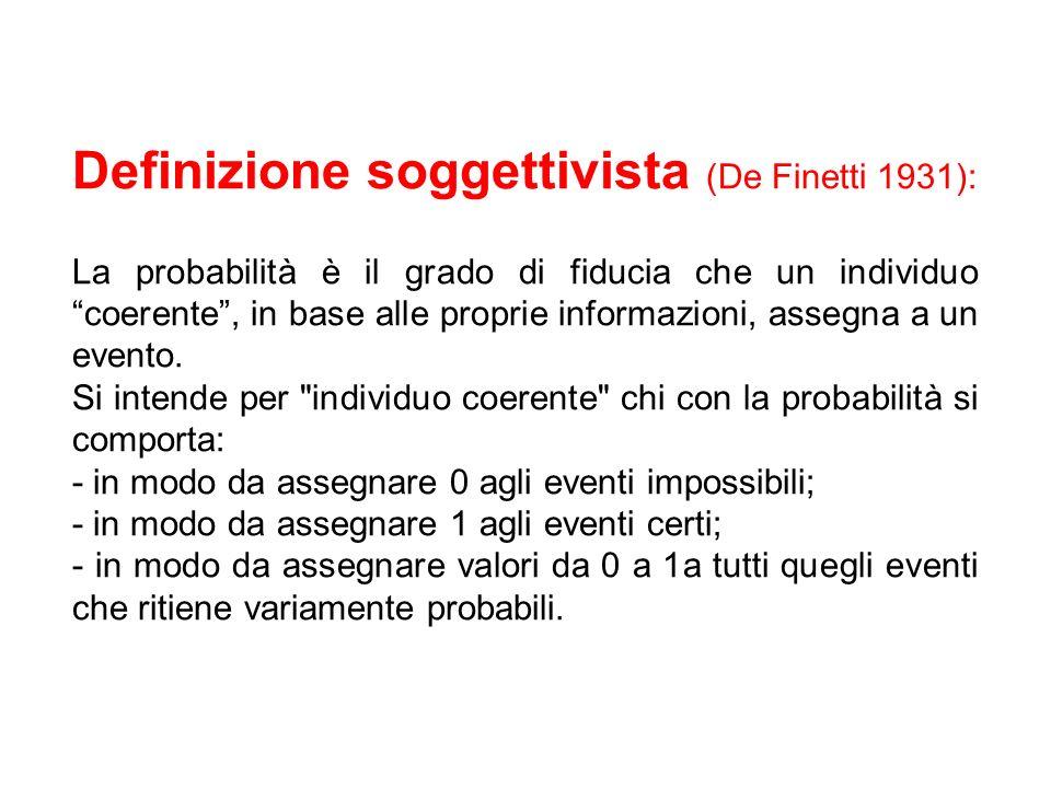 Definizione soggettivista (De Finetti 1931): La probabilità è il grado di fiducia che un individuo coerente, in base alle proprie informazioni, assegna a un evento.