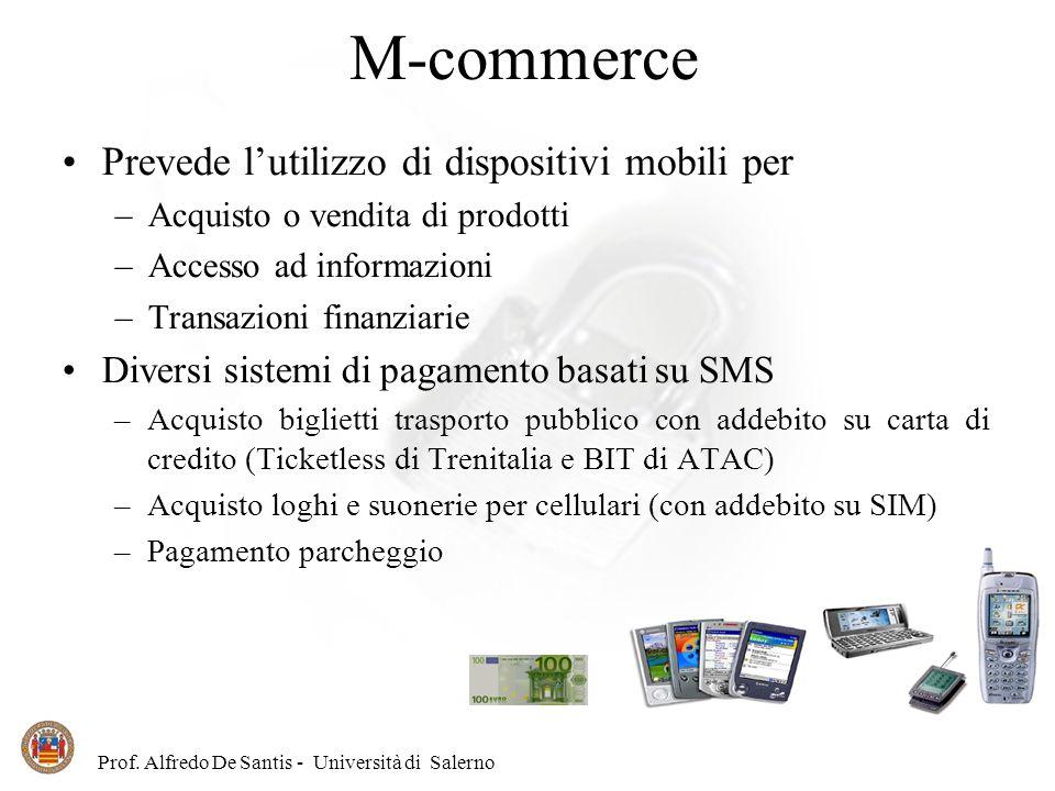 Prof. Alfredo De Santis - Università di Salerno M-commerce Prevede lutilizzo di dispositivi mobili per –Acquisto o vendita di prodotti –Accesso ad inf