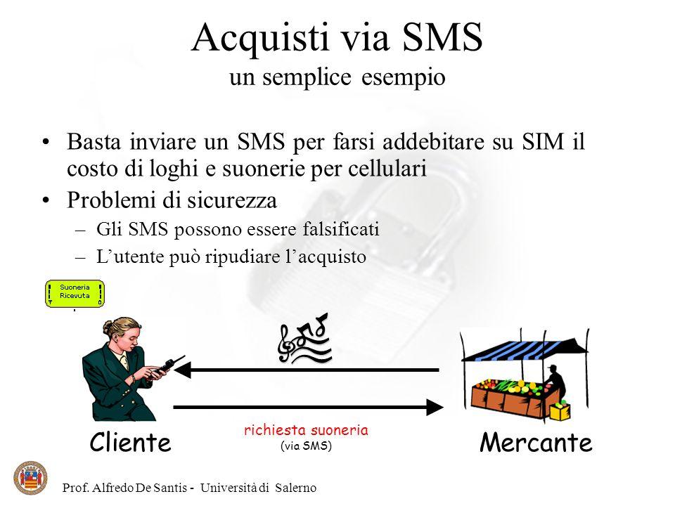 Prof. Alfredo De Santis - Università di Salerno Acquisti via SMS un semplice esempio Basta inviare un SMS per farsi addebitare su SIM il costo di logh
