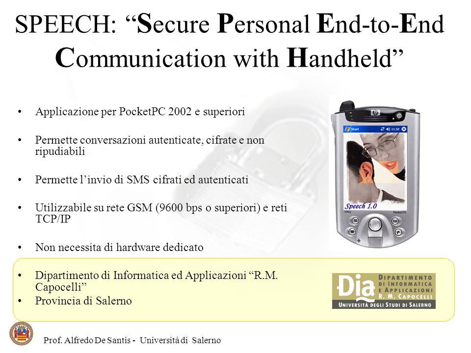 Prof. Alfredo De Santis - Università di Salerno SPEECH: S ecure P ersonal E nd-to- E nd C ommunication with H andheld Applicazione per PocketPC 2002 e