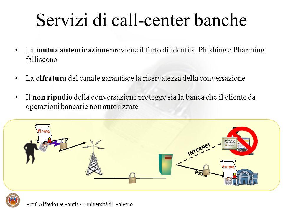 Prof. Alfredo De Santis - Università di Salerno Servizi di call-center banche PSTN INTERNET La mutua autenticazione previene il furto di identità: Phi