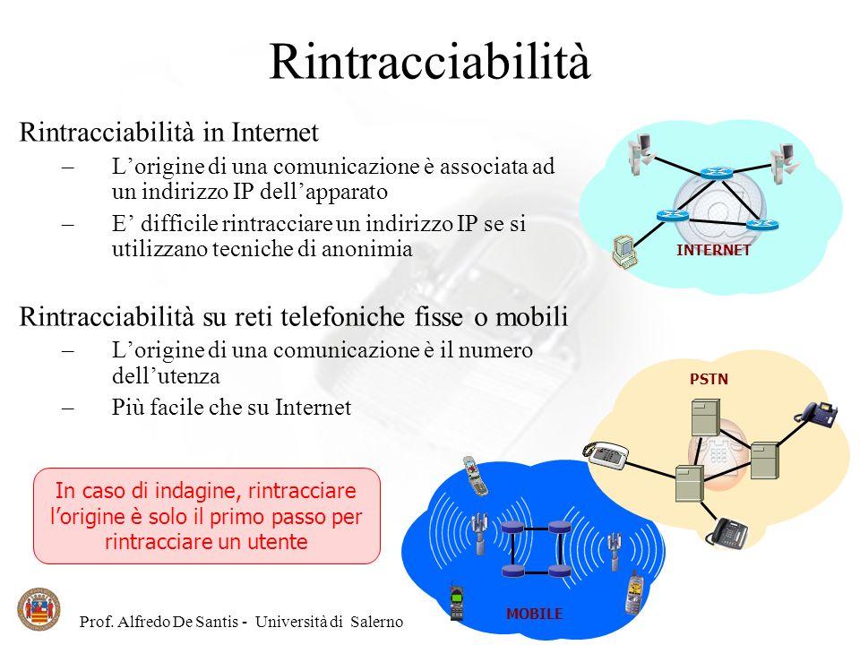 Prof. Alfredo De Santis - Università di Salerno Rintracciabilità Rintracciabilità in Internet –Lorigine di una comunicazione è associata ad un indiriz