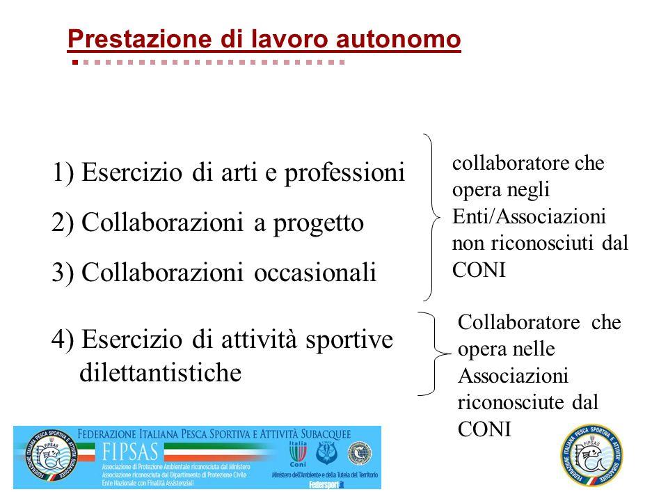 1) Esercizio di arti e professioni 2) Collaborazioni a progetto 3) Collaborazioni occasionali 4) Esercizio di attività sportive dilettantistiche colla