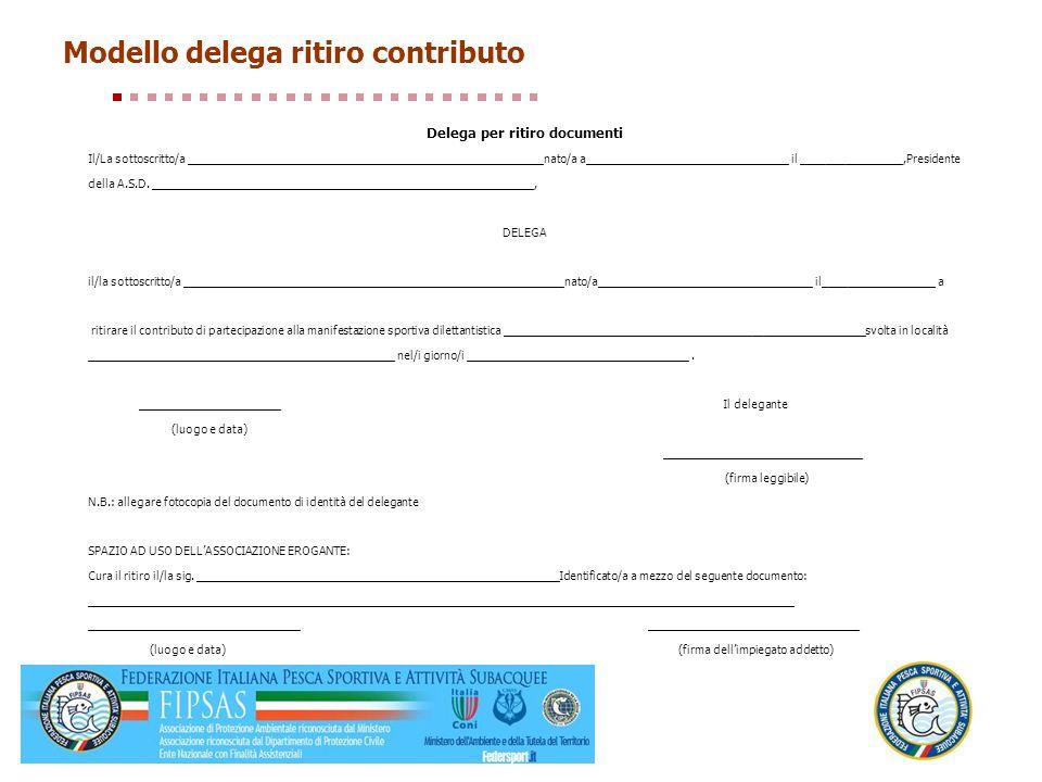 Modello delega ritiro contributo Delega per ritiro documenti Il/La sottoscritto/a ________________________________________________________nato/a a____