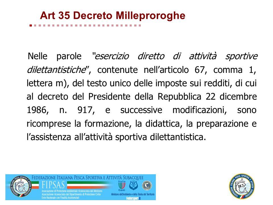 Art 35 Decreto Milleproroghe Nelle parole esercizio diretto di attività sportive dilettantistiche, contenute nellarticolo 67, comma 1, lettera m), del