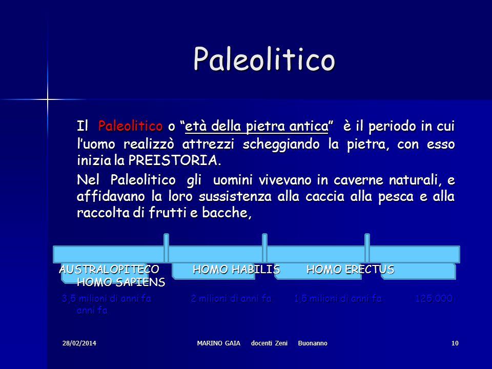 Paleolitico Il Paleolitico o età della pietra antica è il periodo in cui luomo realizzò attrezzi scheggiando la pietra, con esso inizia la PREISTORIA.