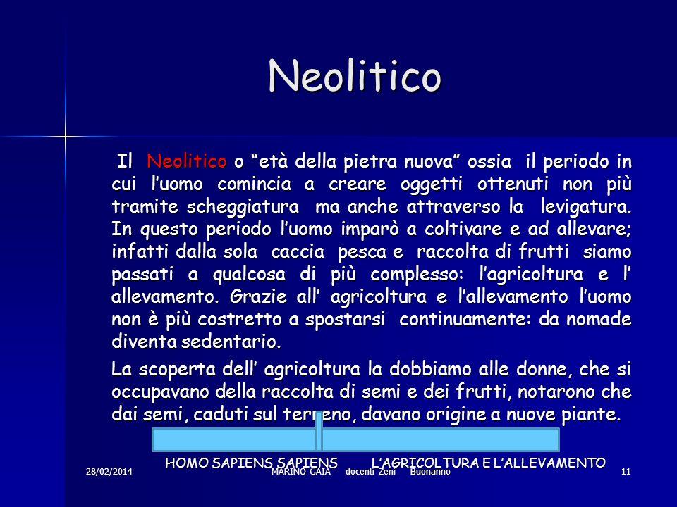 Neolitico Neolitico 28/02/2014MARINO GAIA docenti Zeni Buonanno11 Il Neolitico o età della pietra nuova ossia il periodo in cui luomo comincia a creare oggetti ottenuti non più tramite scheggiatura ma anche attraverso la levigatura.