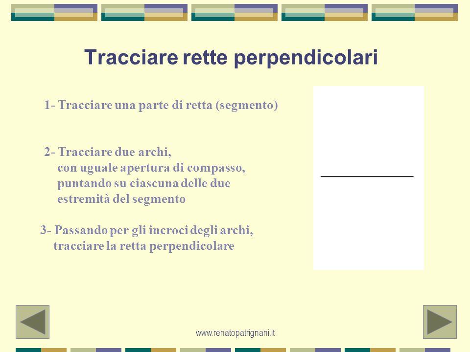 www.renatopatrignani.it Tracciare rette perpendicolari 1- Tracciare una parte di retta (segmento) 2- Tracciare due archi, con uguale apertura di compa