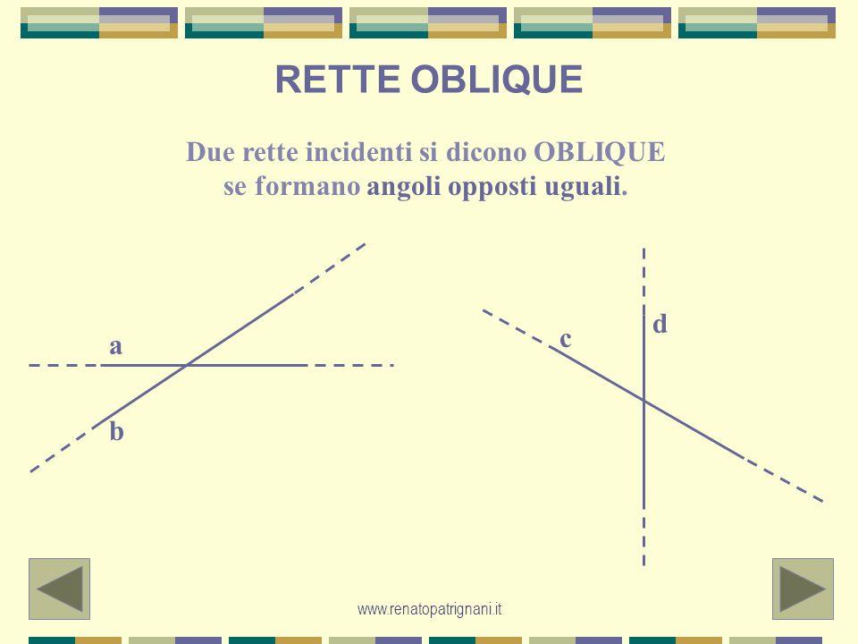 RETTE OBLIQUE Due rette incidenti si dicono OBLIQUE se formano angoli opposti uguali. a b c d