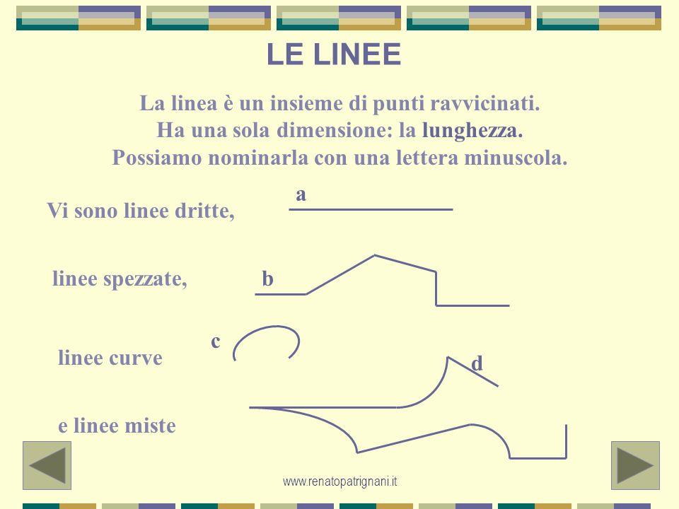 www.renatopatrignani.it LE LINEE La linea è un insieme di punti ravvicinati. Ha una sola dimensione: la lunghezza. Possiamo nominarla con una lettera