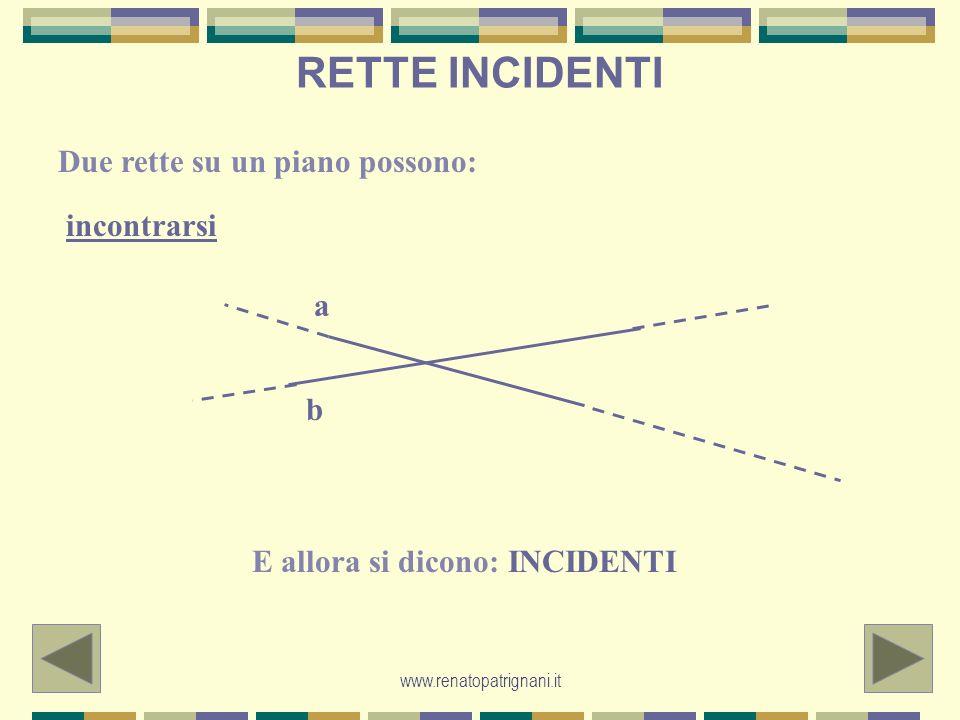 www.renatopatrignani.it RETTE PARALLELE o non incontrarsi E allora si dicono PARALLELE: conservano sempre la stessa distanza tra loro.