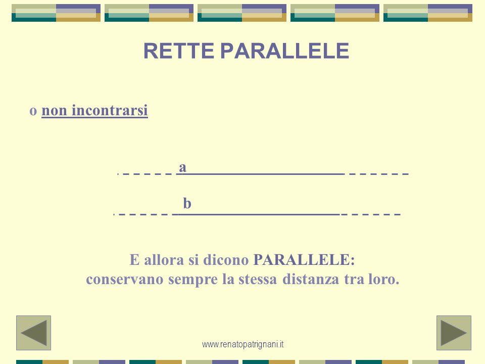 www.renatopatrignani.it RETTE PARALLELE o non incontrarsi E allora si dicono PARALLELE: conservano sempre la stessa distanza tra loro. a b