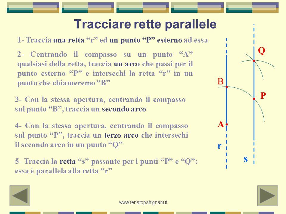 www.renatopatrignani.it Tracciare rette parallele 1- Traccia una retta r ed un punto P esterno ad essa 2- Centrando il compasso su un punto A qualsias