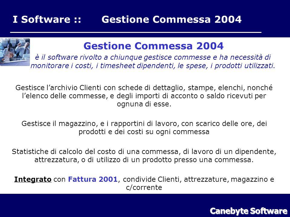 I Software :: Gestione Commessa 2004 Gestione Commessa 2004 è il software rivolto a chiunque gestisce commesse e ha necessità di monitorare i costi, i timesheet dipendenti, le spese, i prodotti utilizzati.