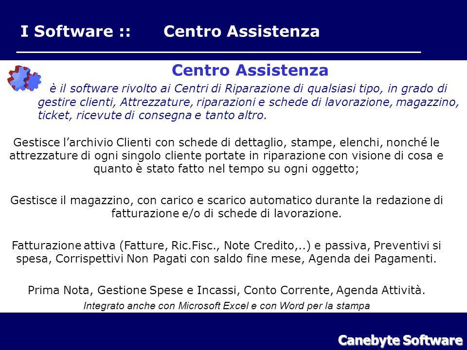 I Software :: Centro Assistenza Centro Assistenza è il software rivolto ai Centri di Riparazione di qualsiasi tipo, in grado di gestire clienti, Attrezzature, riparazioni e schede di lavorazione, magazzino, ticket, ricevute di consegna e tanto altro.
