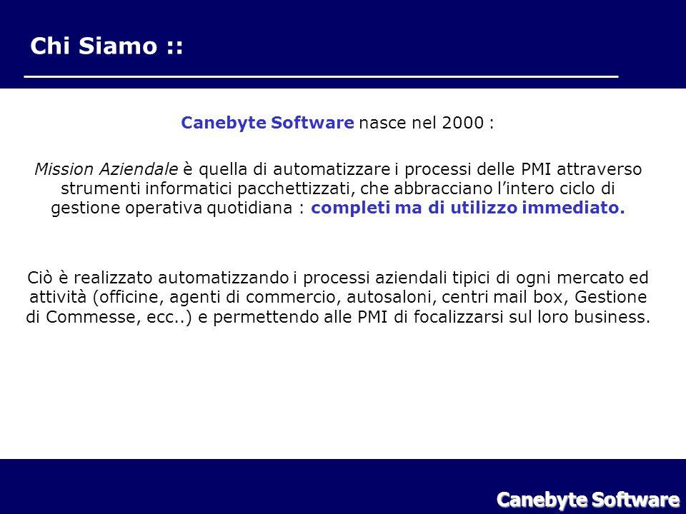 Chi Siamo :: Canebyte Software nasce nel 2000 : Mission Aziendale è quella di automatizzare i processi delle PMI attraverso strumenti informatici pacchettizzati, che abbracciano lintero ciclo di gestione operativa quotidiana : completi ma di utilizzo immediato.