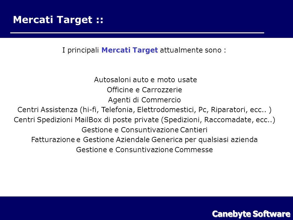 Mercati Target :: I principali Mercati Target attualmente sono : Autosaloni auto e moto usate Officine e Carrozzerie Agenti di Commercio Centri Assistenza (hi-fi, Telefonia, Elettrodomestici, Pc, Riparatori, ecc..