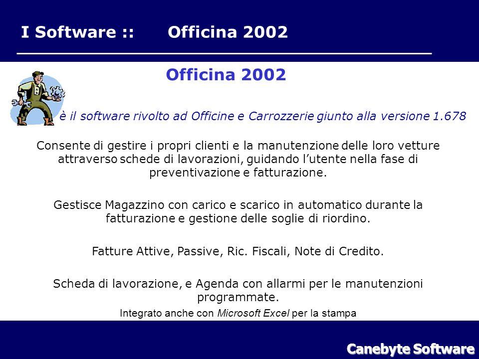 I Software :: Officina 2002 Officina 2002 è il software rivolto ad Officine e Carrozzerie giunto alla versione 1.678 Consente di gestire i propri clienti e la manutenzione delle loro vetture attraverso schede di lavorazioni, guidando lutente nella fase di preventivazione e fatturazione.