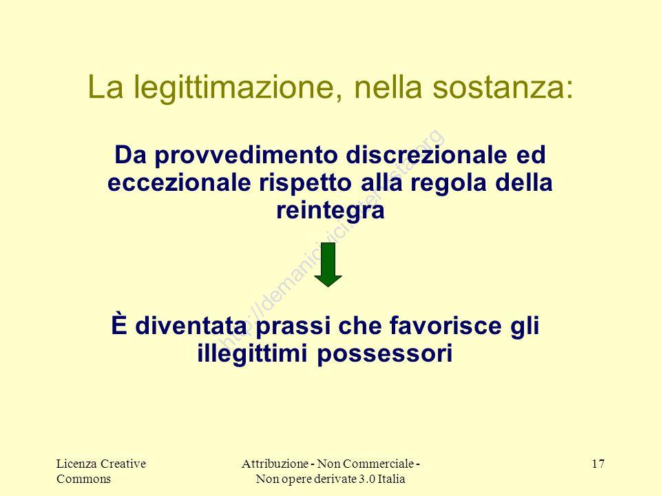 Licenza Creative Commons Attribuzione - Non Commerciale - Non opere derivate 3.0 Italia 17 http://demanicivici.altervista.org La legittimazione, nella