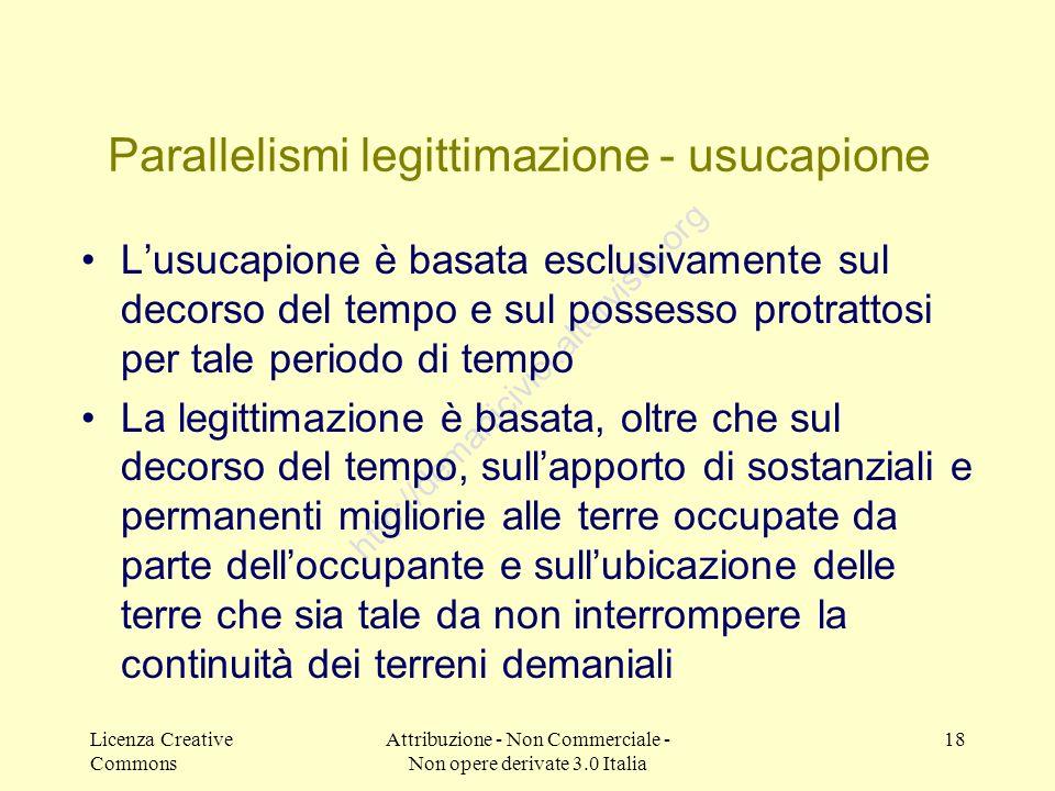 Licenza Creative Commons Attribuzione - Non Commerciale - Non opere derivate 3.0 Italia 18 http://demanicivici.altervista.org Parallelismi legittimazi