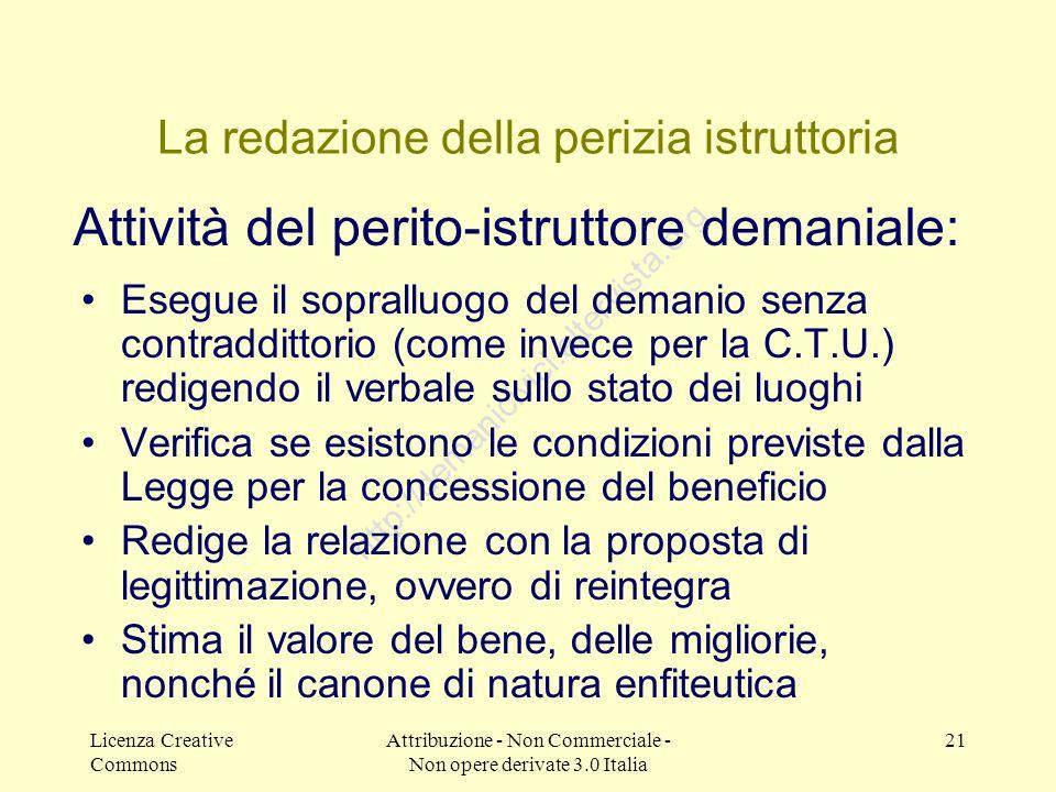 Licenza Creative Commons Attribuzione - Non Commerciale - Non opere derivate 3.0 Italia 21 http://demanicivici.altervista.org La redazione della periz