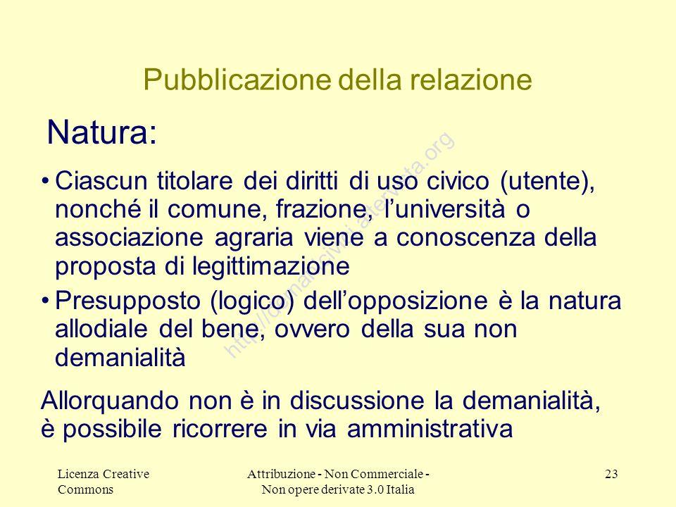 Licenza Creative Commons Attribuzione - Non Commerciale - Non opere derivate 3.0 Italia 23 http://demanicivici.altervista.org Pubblicazione della rela