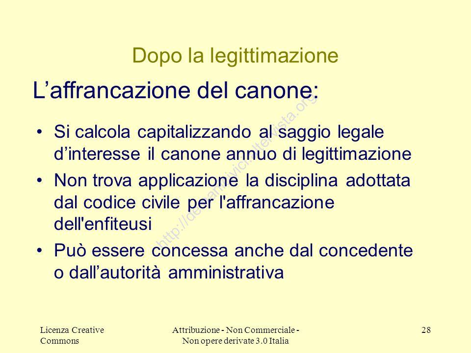Licenza Creative Commons Attribuzione - Non Commerciale - Non opere derivate 3.0 Italia 28 http://demanicivici.altervista.org Dopo la legittimazione S