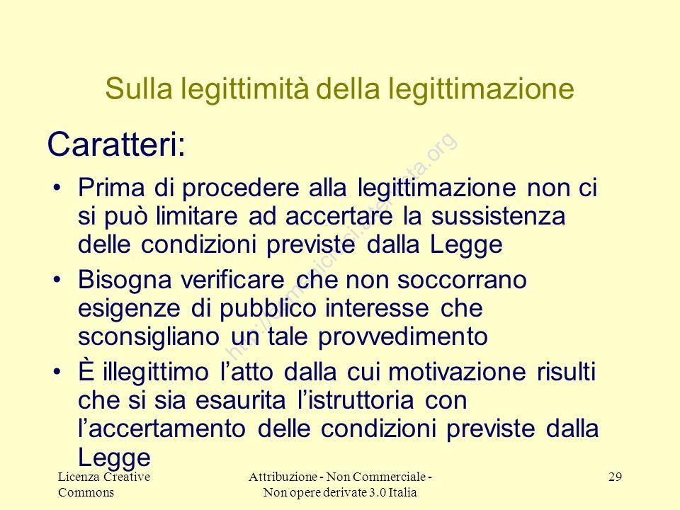 Licenza Creative Commons Attribuzione - Non Commerciale - Non opere derivate 3.0 Italia 29 http://demanicivici.altervista.org Sulla legittimità della