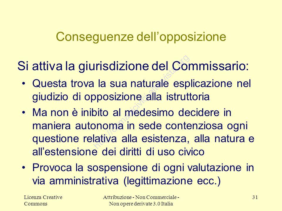 Licenza Creative Commons Attribuzione - Non Commerciale - Non opere derivate 3.0 Italia 31 http://demanicivici.altervista.org Conseguenze dellopposizi