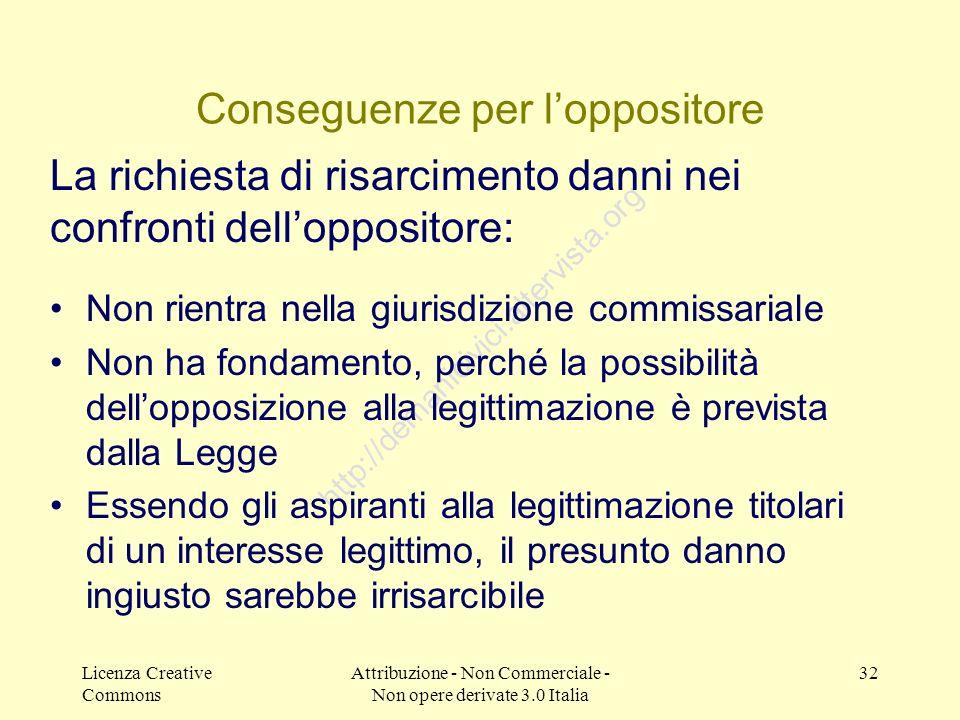 Licenza Creative Commons Attribuzione - Non Commerciale - Non opere derivate 3.0 Italia 32 http://demanicivici.altervista.org Conseguenze per lopposit