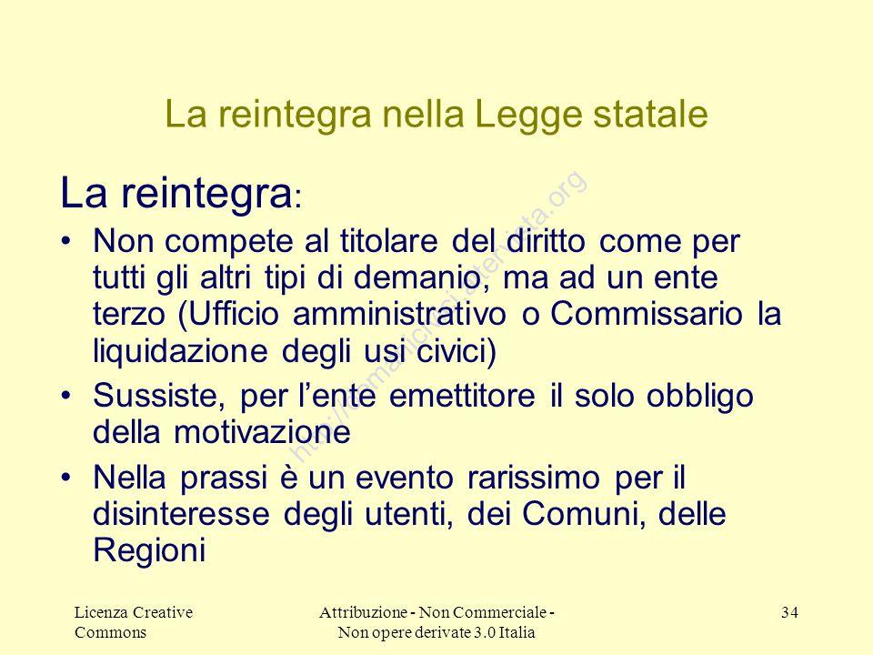 Licenza Creative Commons Attribuzione - Non Commerciale - Non opere derivate 3.0 Italia 34 http://demanicivici.altervista.org La reintegra nella Legge