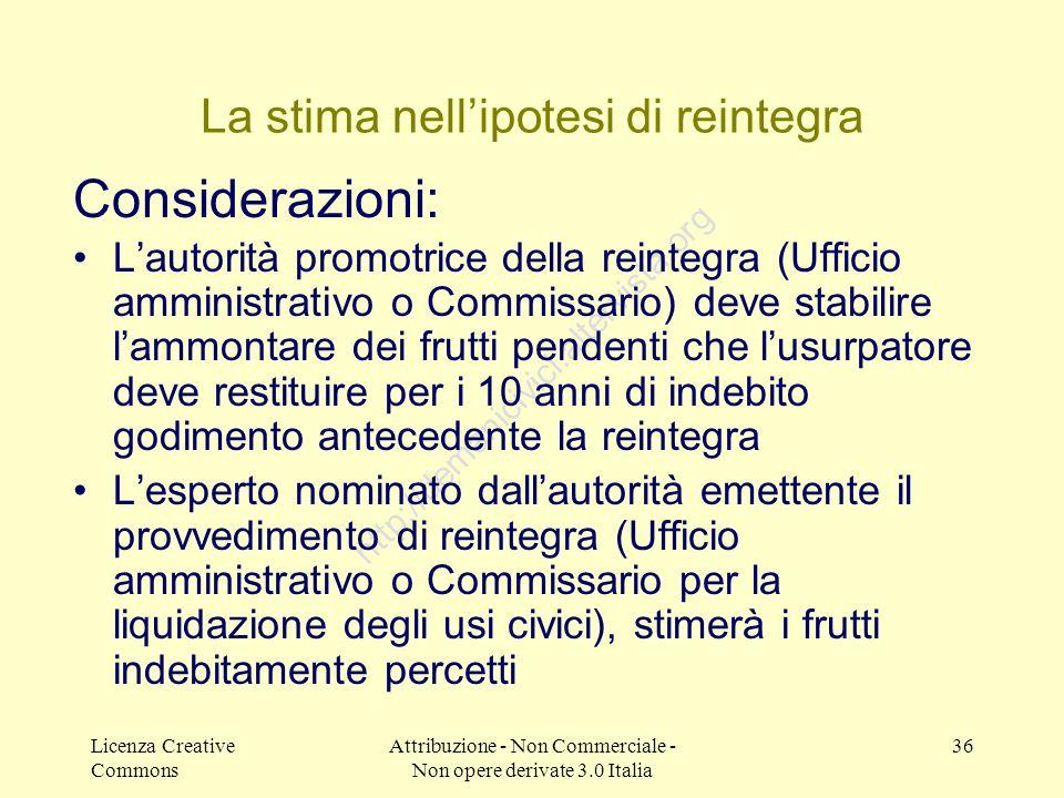 Licenza Creative Commons Attribuzione - Non Commerciale - Non opere derivate 3.0 Italia 36 http://demanicivici.altervista.org La stima nellipotesi di