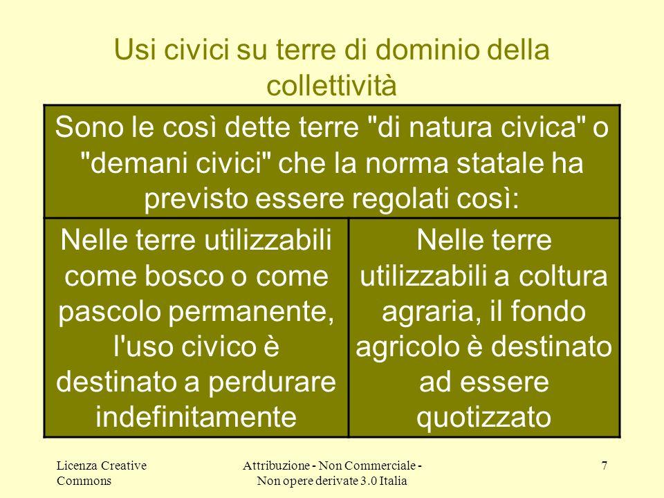 Licenza Creative Commons Attribuzione - Non Commerciale - Non opere derivate 3.0 Italia 7 http://www.usicivici.altervista.org/ Sono le così dette terr