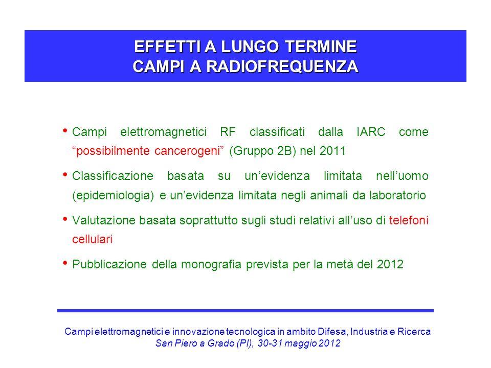 Campi elettromagnetici e innovazione tecnologica in ambito Difesa, Industria e Ricerca San Piero a Grado (PI), 30-31 maggio 2012 EFFETTI A LUNGO TERMI